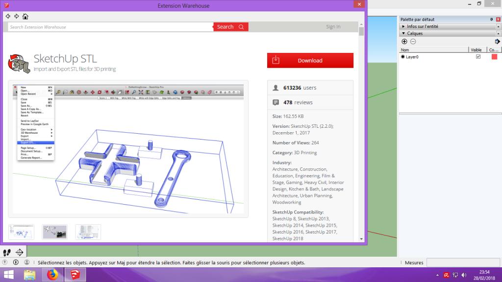[Tuto] Modelisation 3D - Tuto 1 sur Sketchup - Installation, premier tracé, Calques et exportation STL. 022