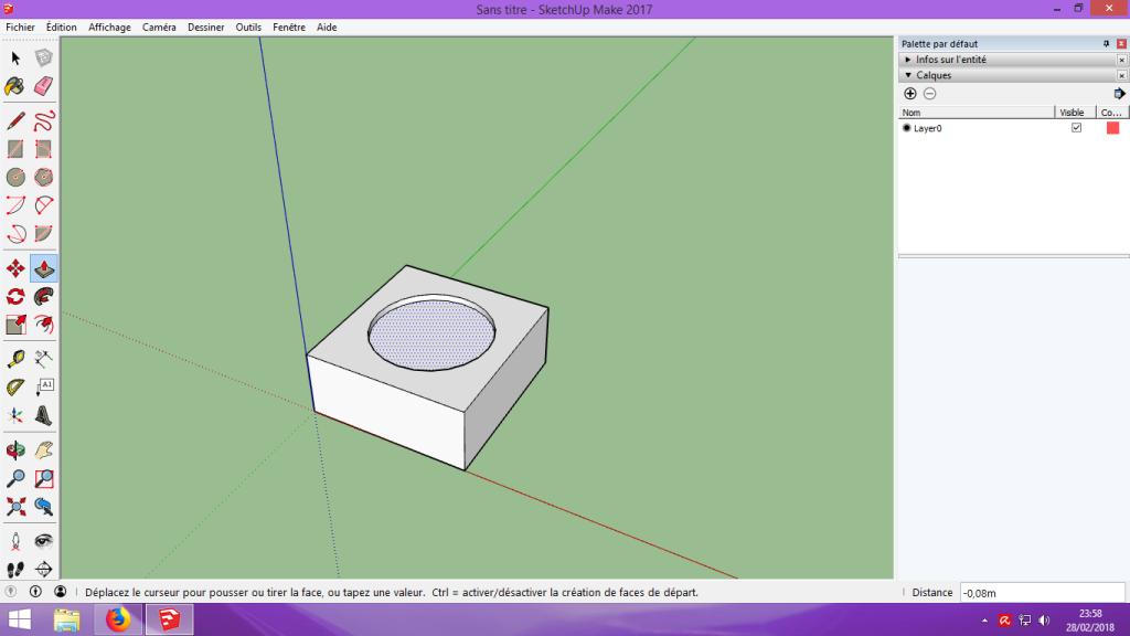[Tuto] Modelisation 3D - Tuto 1 sur Sketchup - Installation, premier tracé, Calques et exportation STL. 040