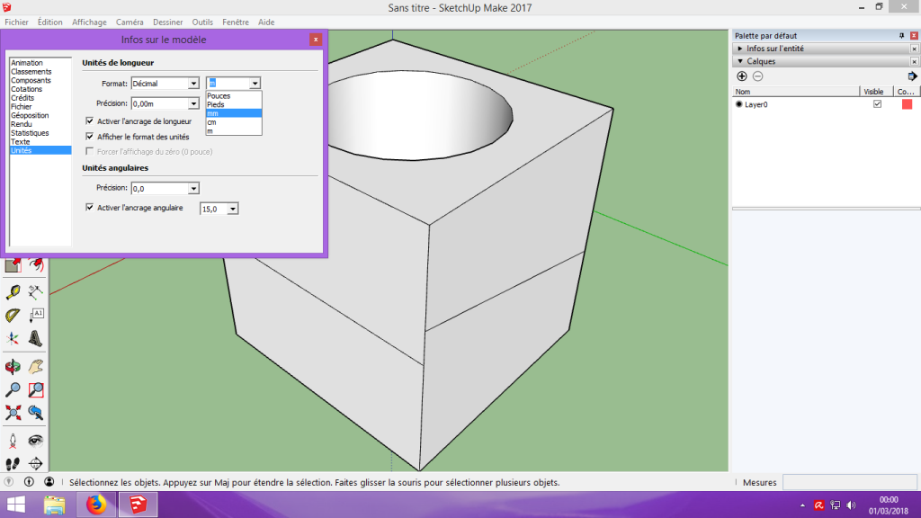 [Tuto] Modelisation 3D - Tuto 1 sur Sketchup - Installation, premier tracé, Calques et exportation STL. 047