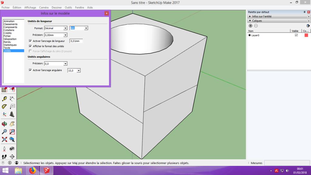 [Tuto] Modelisation 3D - Tuto 1 sur Sketchup - Installation, premier tracé, Calques et exportation STL. 048