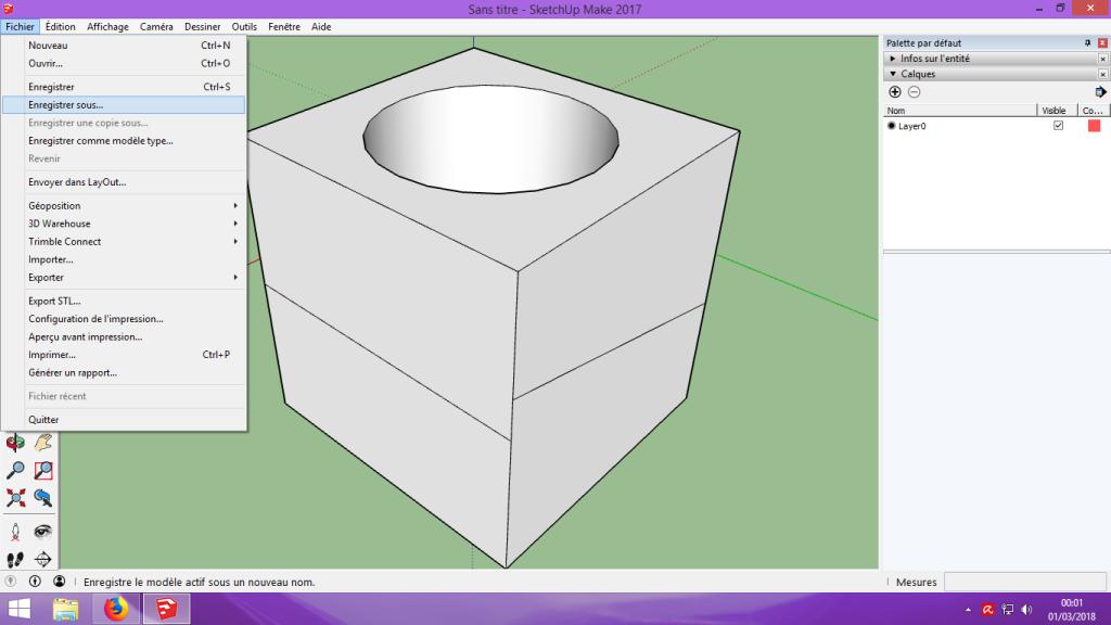 [Tuto] Modelisation 3D - Tuto 1 sur Sketchup - Installation, premier tracé, Calques et exportation STL. 050