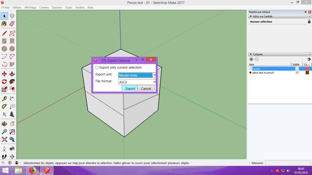 [Tuto] Modelisation 3D - Tuto 1 sur Sketchup - Installation, premier tracé, Calques et exportation STL. 061